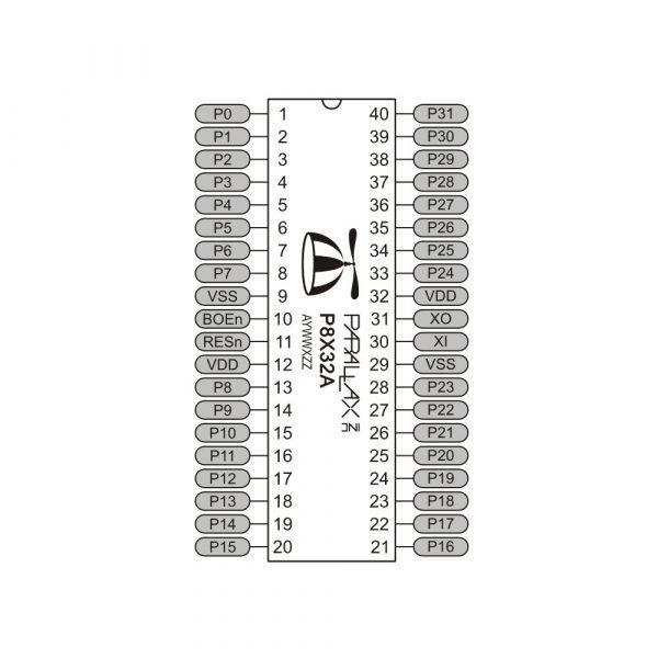 Propeller P8X32A-D4 40-pin DIP pin map