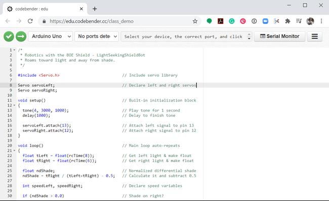 Codebender.edu Programs Shield-Bots on ChromeBooks