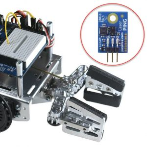 Gripper for Parallax Small Robots (assembled) plus LaserPING module close-up